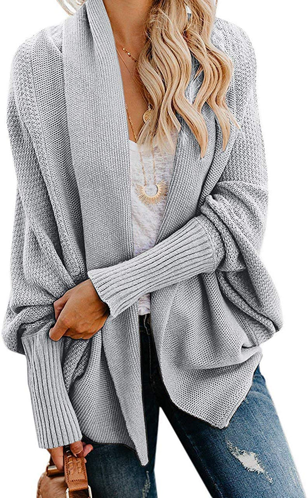 Womens Kimono Batwing Cable Knitted Slouchy Oversized Wrap Cardigan Sweater