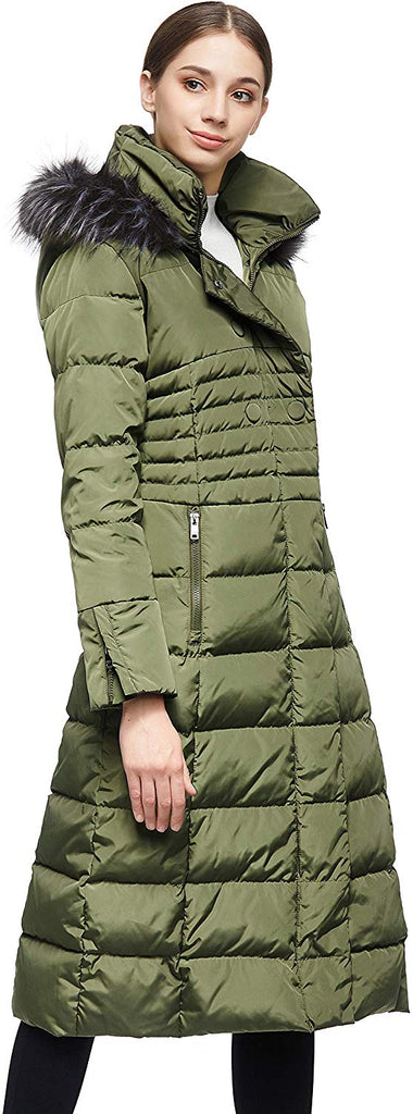 Women Warm Down Jacket with Hood Fur Raglan Sleeve Coat