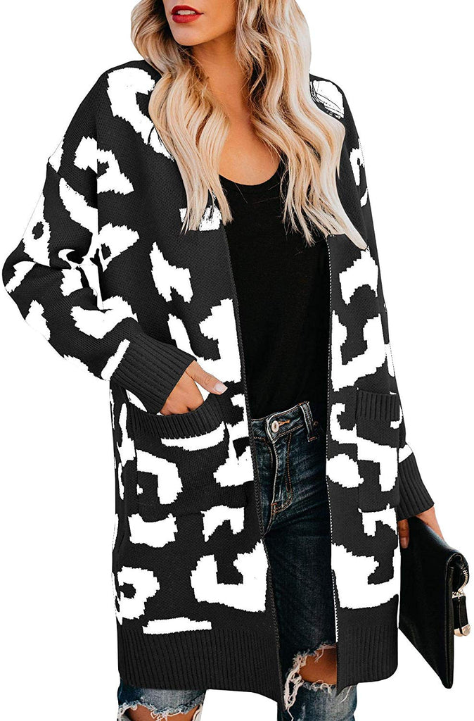 Womens Leopard Print Cardigan Sweater Open Front Long Sleeve Loose Knit Coat with Pockets