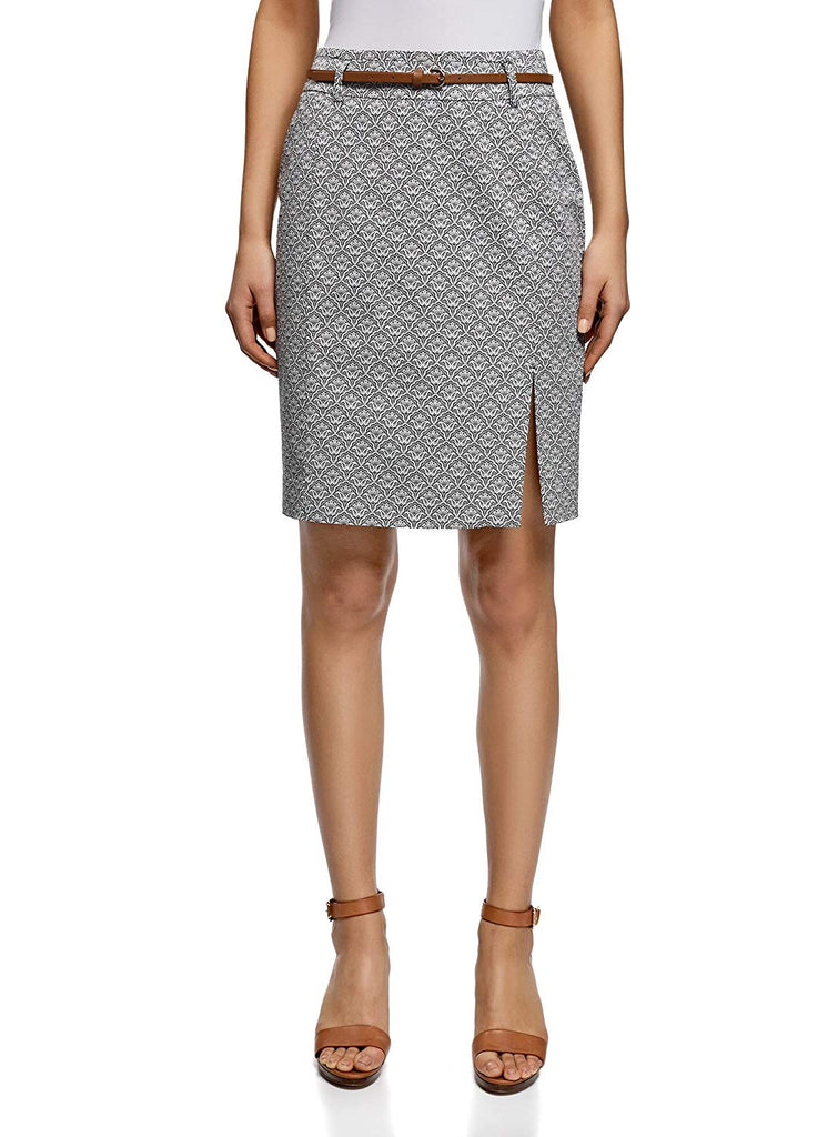 Women's Straight Belted Skirt Mid-length pencil skirt with belt and side split.