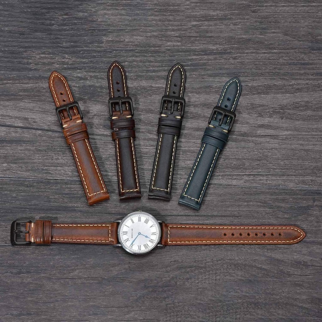 Vintage Leather Watch Band EACHE Watch Strap Oil Wax/Discolored Litchi Grain Genuine Leather Replacement Watchband