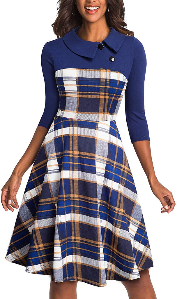 Women's Lapel 3/4 Sleeve Church Aline Colorblock Work Dress A121