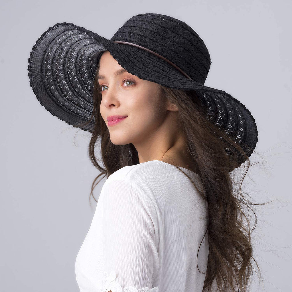 Summer Beach Sun Hats for Women UPF Woman Foldable Floppy Travel Packable UV Hat Cotton, Wide Brim Hat