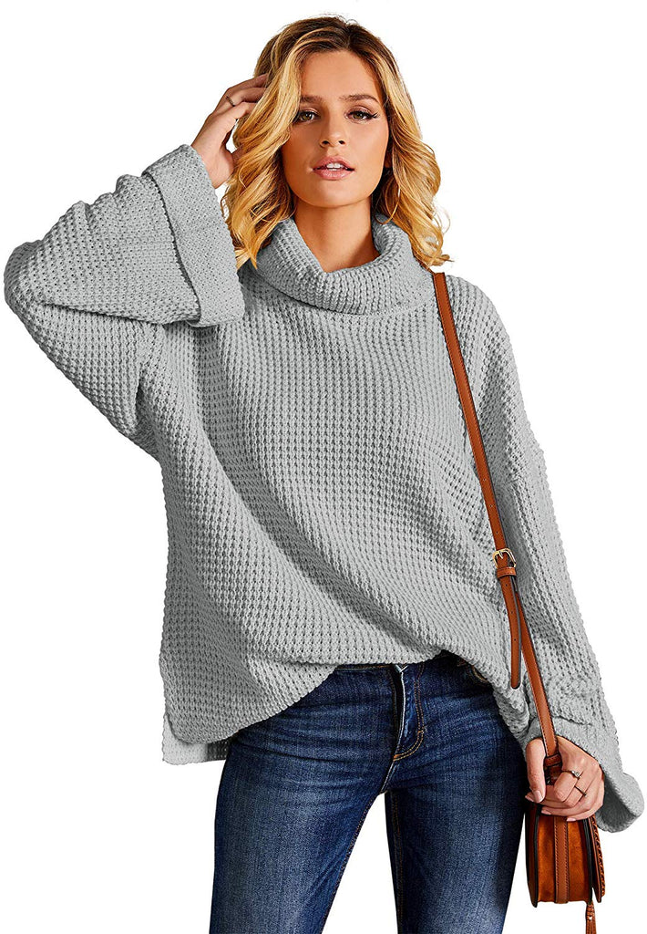 Womens Casual Turtleneck Chunky Sweaters Pullover Oversized Batwing Sleeve Loose Knitted Baggy Slouchy Jumper