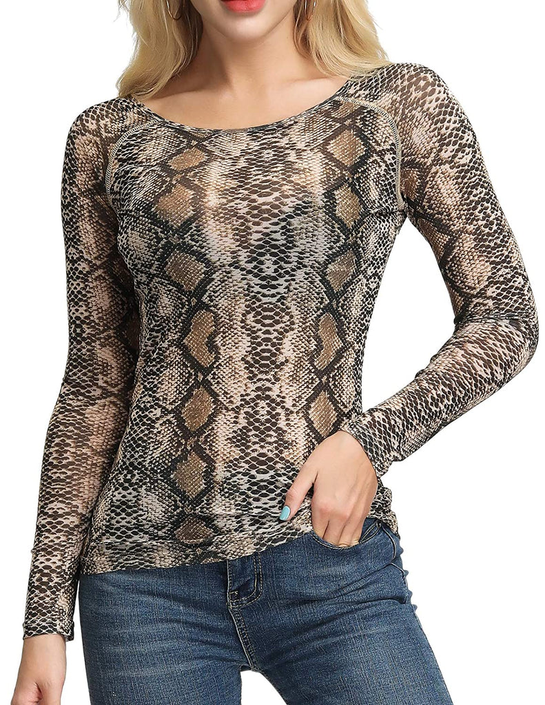 Stylish Women's Long Sleeves Mesh Sheer Tops