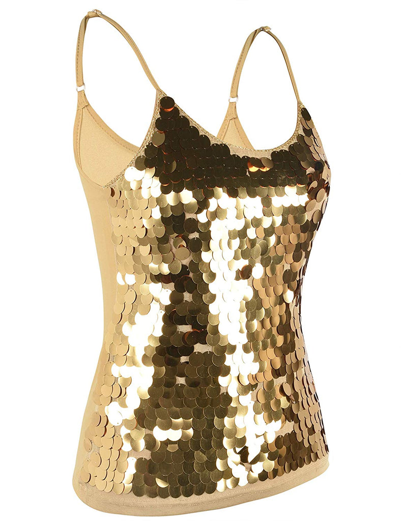Women's Sequin Tank Top Spaghetti Strap Camisole Sparkle Club Party Vest Top