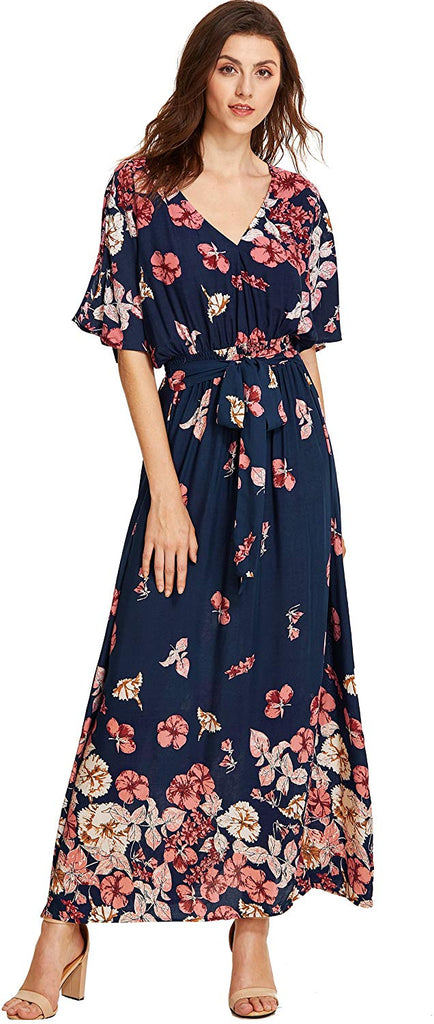 Maxi Dress Women's Boho Split Tie-Waist Vintage Print Maxi Dress