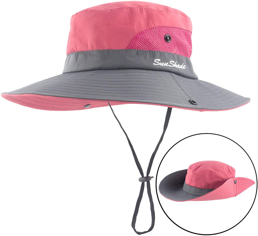 Women's Summer Mesh Wide Brim Sun UV Protection Hat with Ponytail Hole