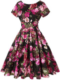 Women's 1950s Dress Retro Vintage Cocktail Party Short Sleeve Swing Dress