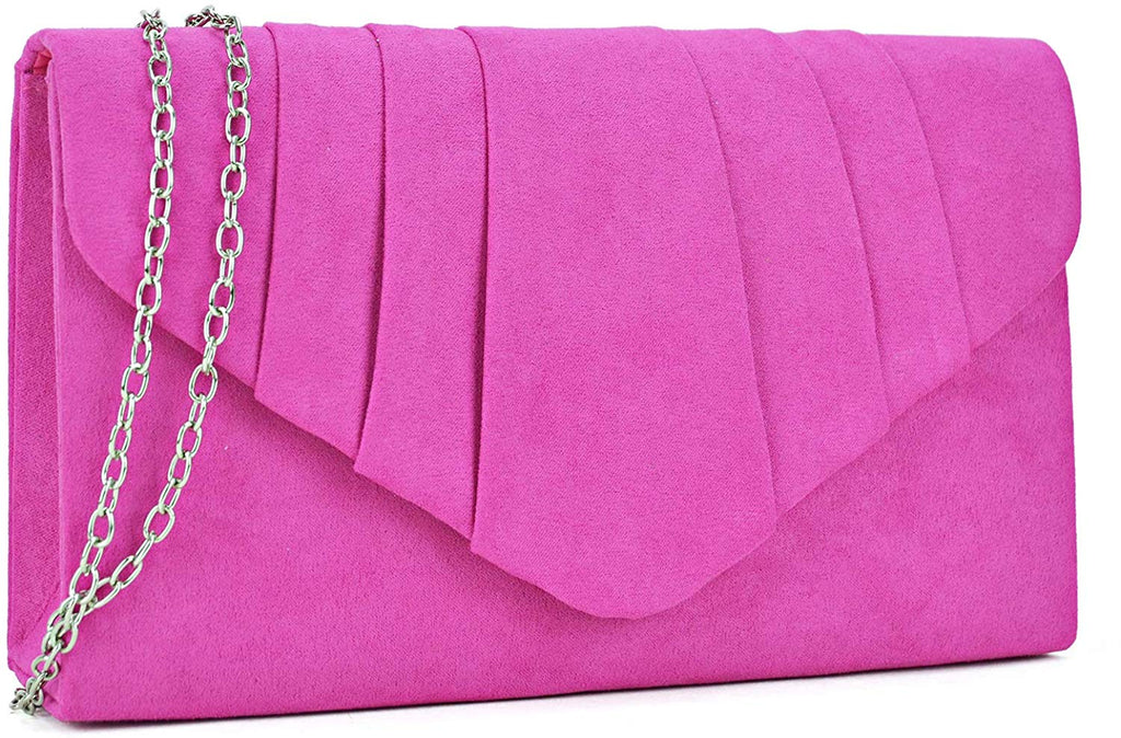 Womens Evening Bag Velvety Pleated Envelope Clutch Handbag Wedding Party Bridal Purse