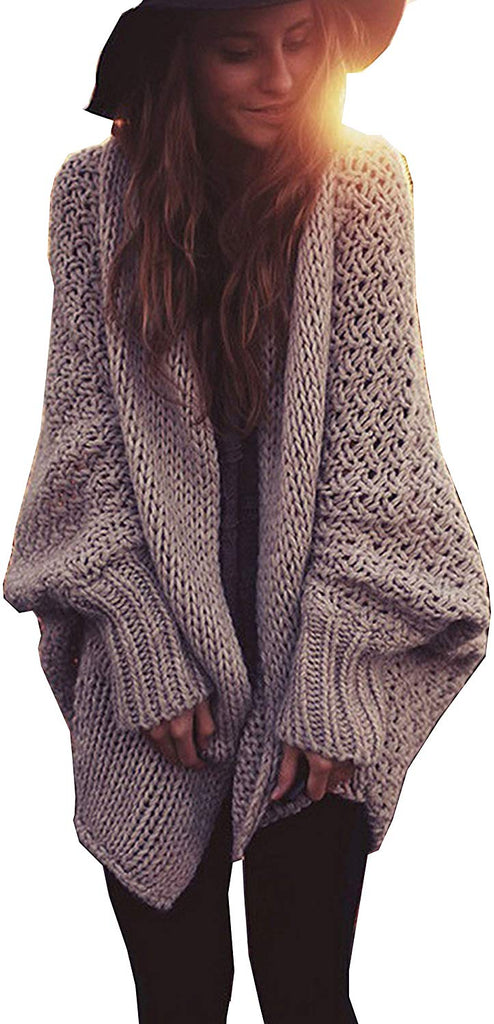 Women Oversized Loose Knitted Sweater Batwing Sleeve Taupe (One Size Fits Most)