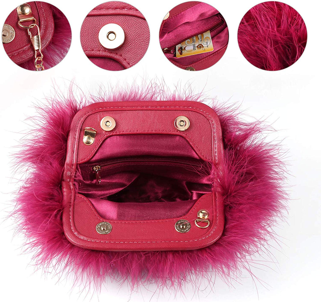 Women Feather Clutch Bag Evening Handbag with Detachable Chain Strap Wedding Cocktail Party Bag