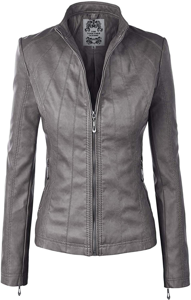 Quilted Faux Leather Moto Biker Jacket of women