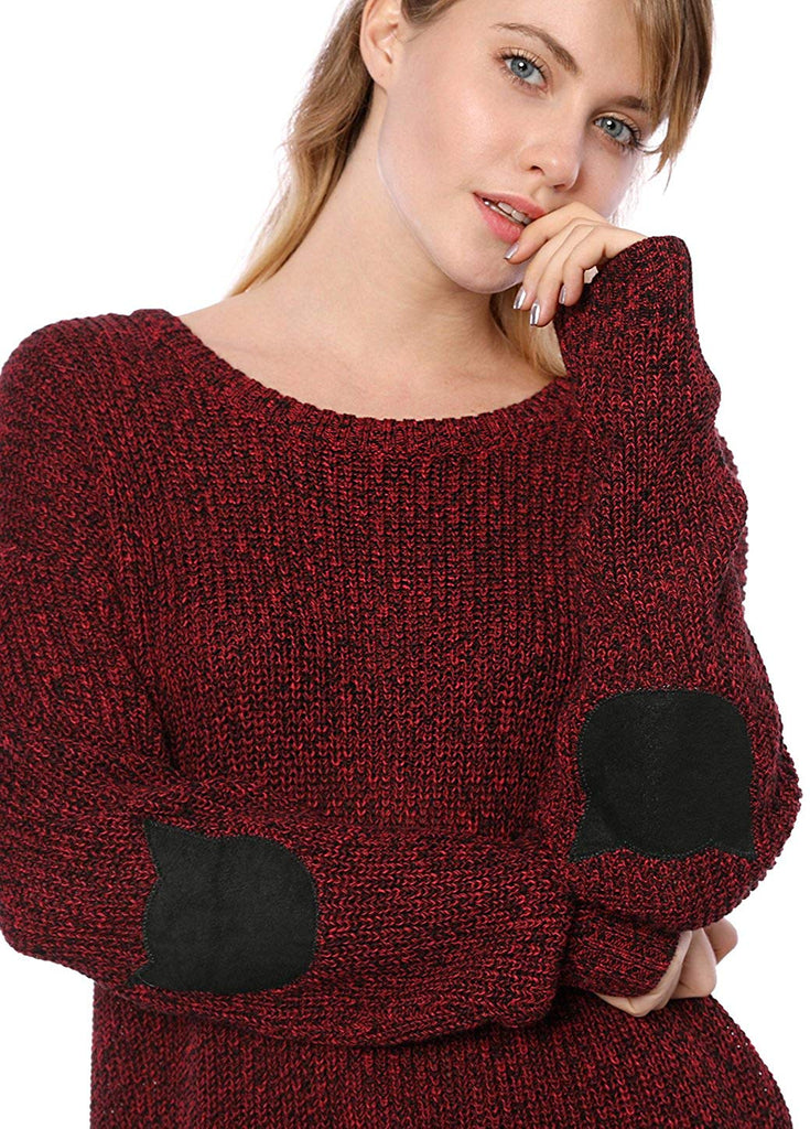 Women's Pullover Drop Shoulder Elbow Cat Patch Loose Sweater Pullover Jumper