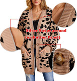Womens Leopard Long Cardigans Sweater Oversized Chunky Button Down Open Front Loose Knitted Jumper with Pockets