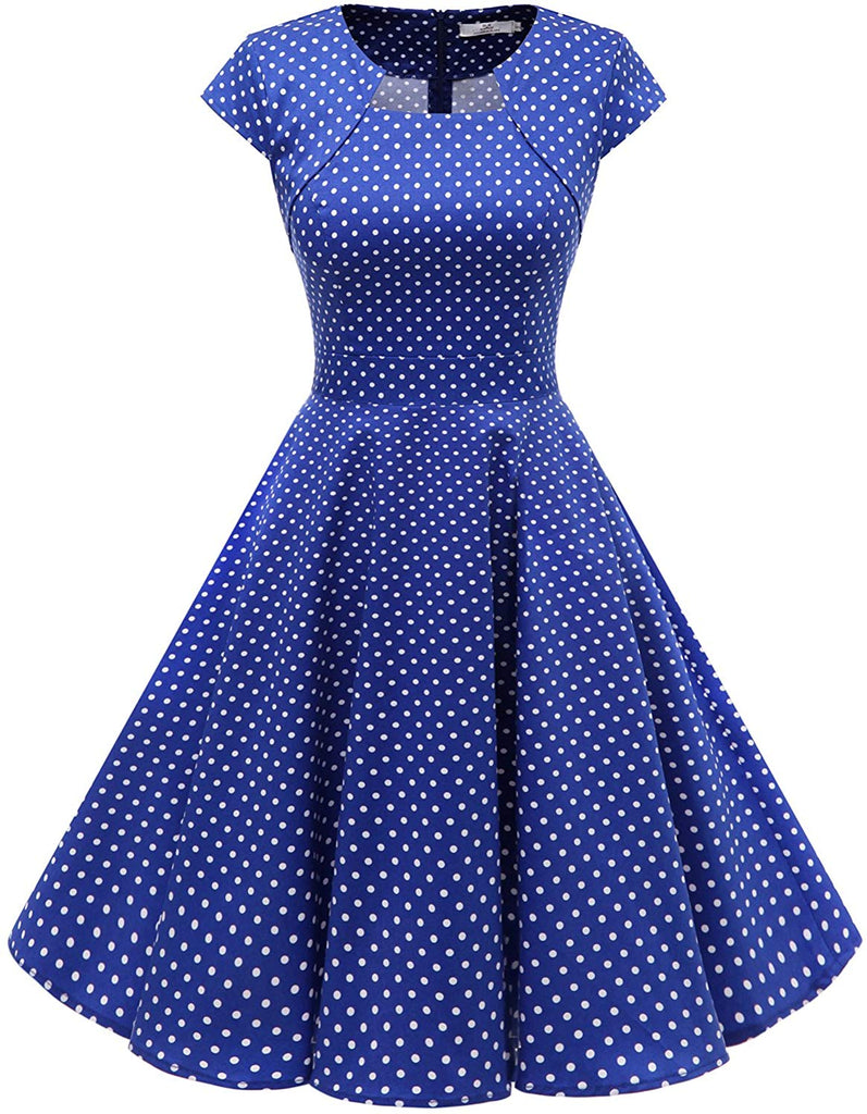 Women's Vintage A-Line Cap Sleeve Cocktail Swing Party Dress