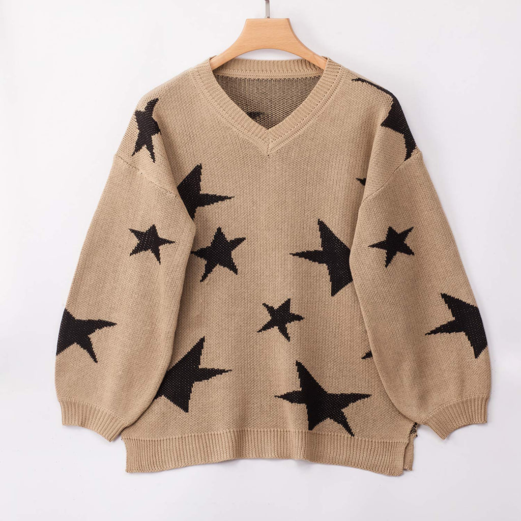 Women Knit Sweaters Long Sleeves V Neck Pullover Loose Fit Fashion Stars Sweater