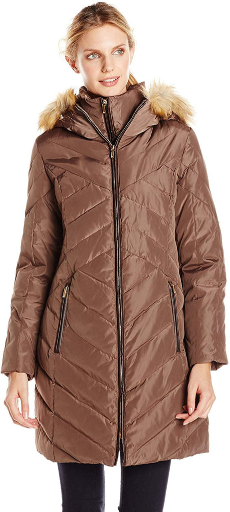Women's Down Coat with Faux Fur-Trimmed Hood