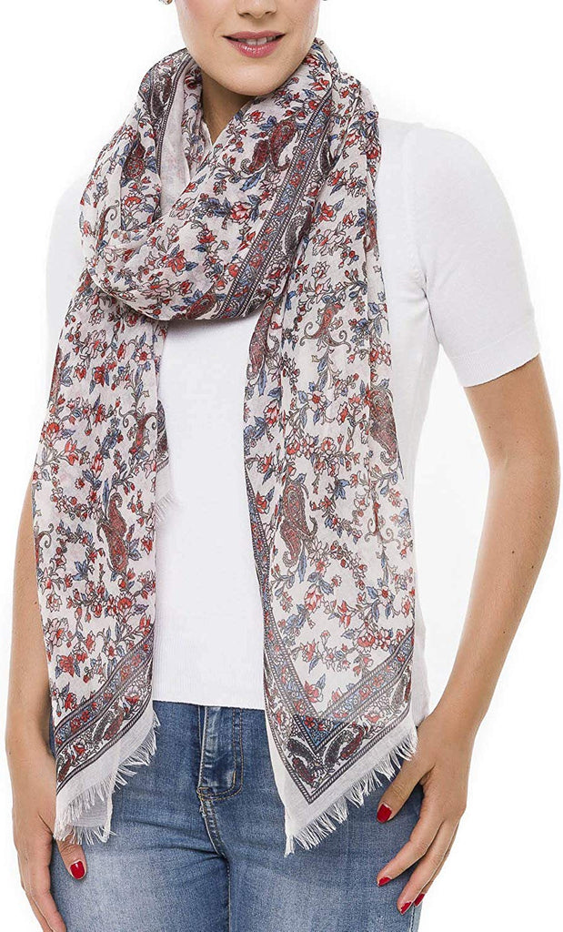 Fall Shawl Wrap Scarf for Women Lightweight Floral Flower Scarves
