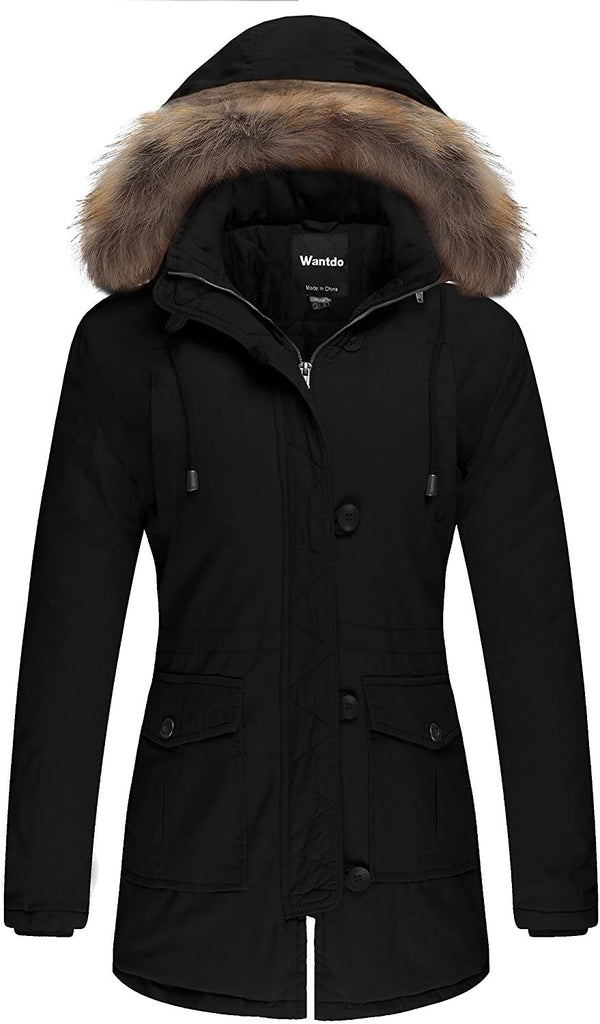 Women's Cotton Thicken Padded Parka Winter Jacket Removable Fur Hood Coat