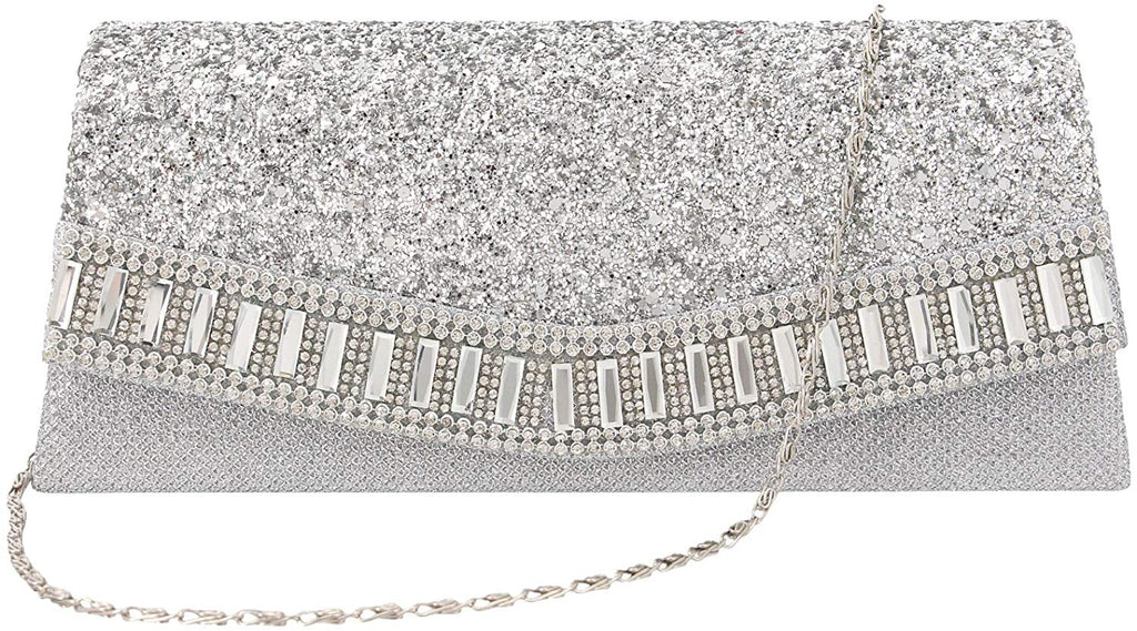 Flap Dazzling Clutch Bag Evening Bag With Detachable Chain