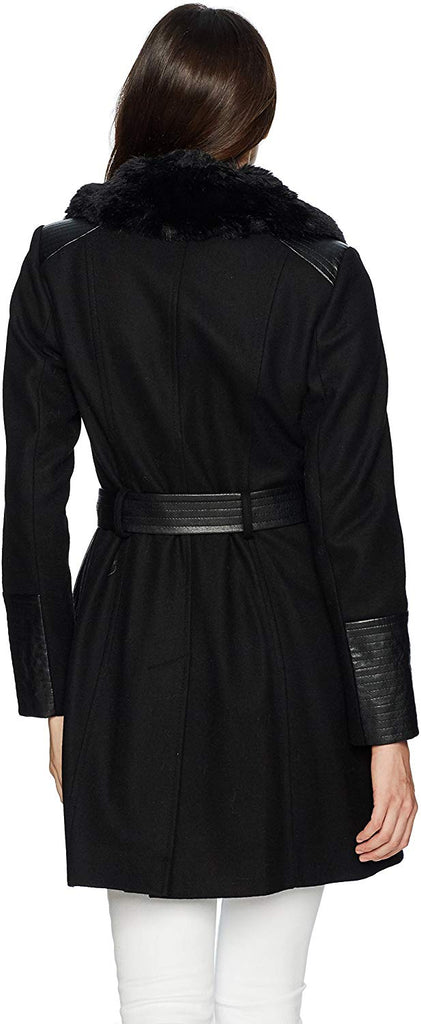 Women's Kate Mid-Length Belted Wool Assymetric Zip Front Coat with Fur Collar