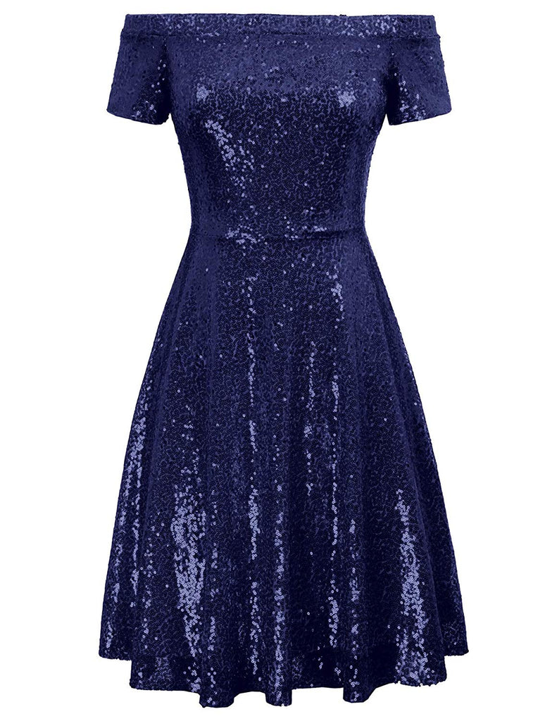 Women Sequin Bridesmaid Short Sleeve Strapless Ruched Evening Dress