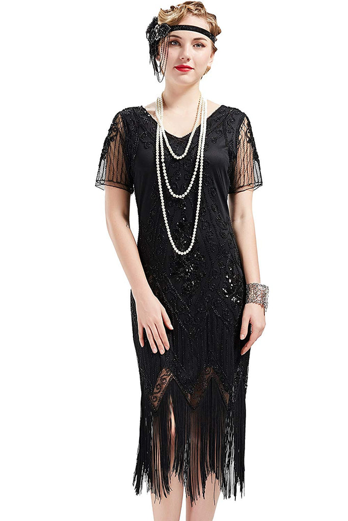 Women 1920s Art Deco Fringed Sequin Dress 20s Flapper Gatsby Costume Dress