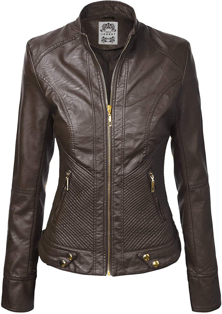 Womens Faux Leather Zip Up Moto Biker Jacket with Stitching Detail