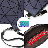 Geometric Luminous Backpack for Women Holographic Reflective Purses Crossbody Bag Wallet