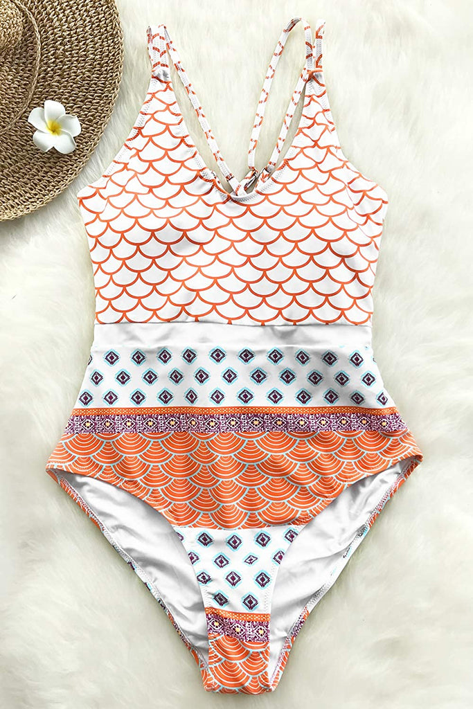 Women's Beautiful World Print One-piece Swimsuit High Waisted Swimwear