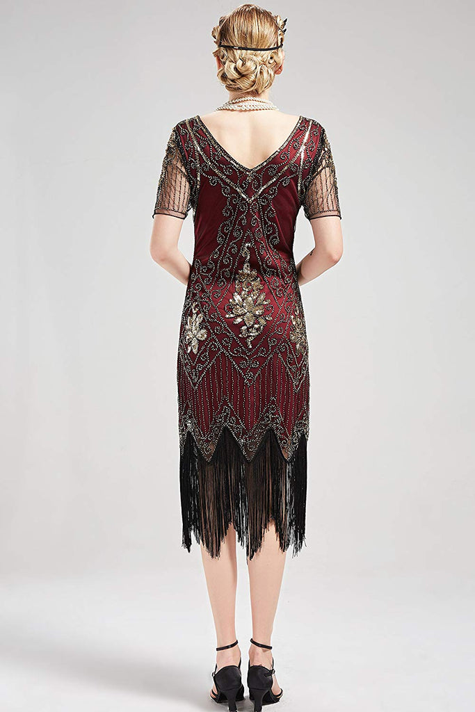 1920s Art Deco Fringed Sequin Dress 20s Flapper Gatsby Costume Vintage Dress