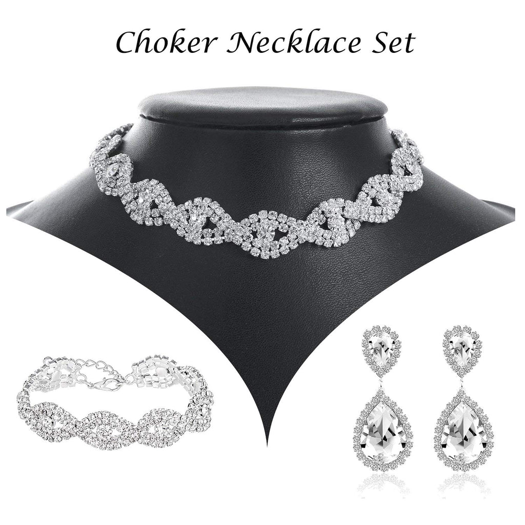 Choker Necklace for Women - Jewelry Sets for Women,Rhinestone Crystal Necklace Link Bracelet Teardrop Dangle Earrings for Women,Party Mother's Day Prom Wedding Fashion Jewelry Gift