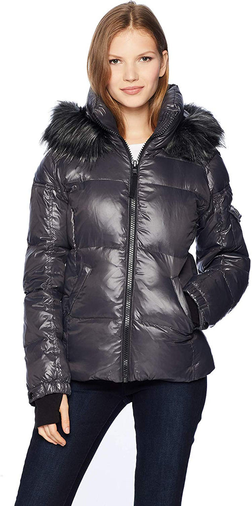 Women's Kylie Down Puffer Jacket with Faux Fur Trimmed Hood