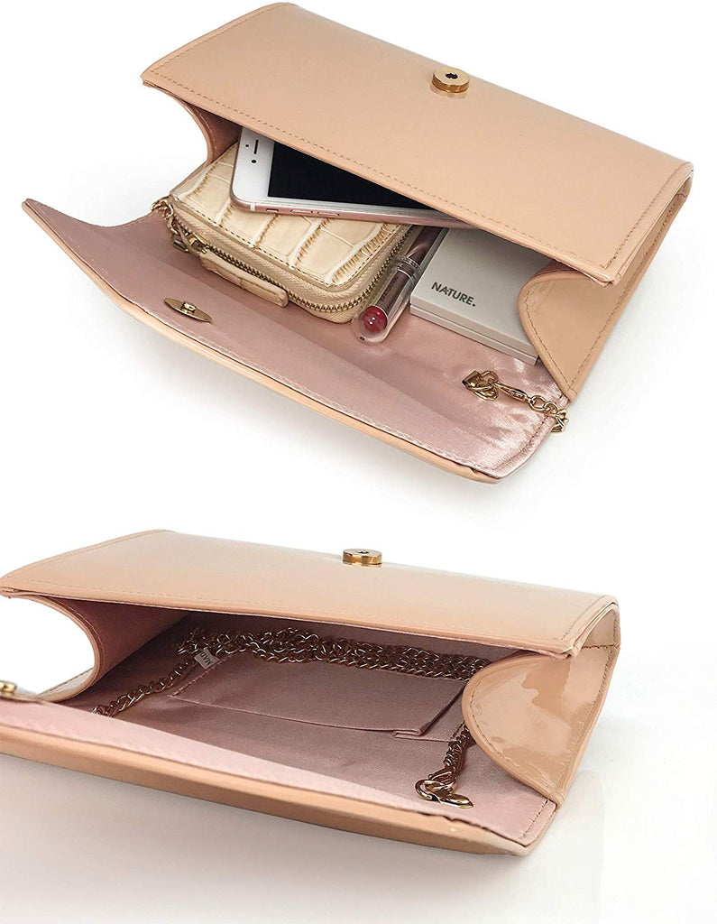 Envelope Evening Clutch Faux Patent Leather Women Chain Shoulder Bag Solid Color Purse
