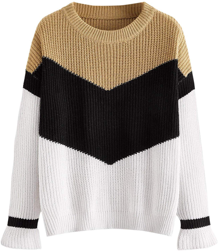 Women's Drop Shoulder Knitted Color Block Textured Jumper Casual Sweater Long Sleeve