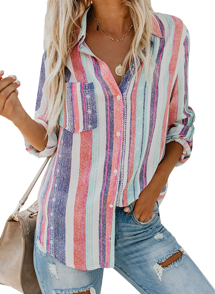 Blouses Women's V Neck Roll up Sleeve Button Down Blouses Tops