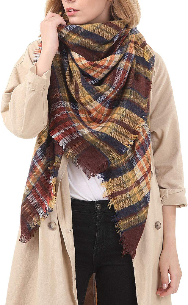 Plaid Blanket Thick Winter Scarf Tartan Chunky Wrap Oversized Shawl Cape