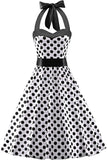Women's Vintage 1950s Halter Neck Polka Dot Audrey Hepburn Dress 50s Retro Swing Dresses Belt