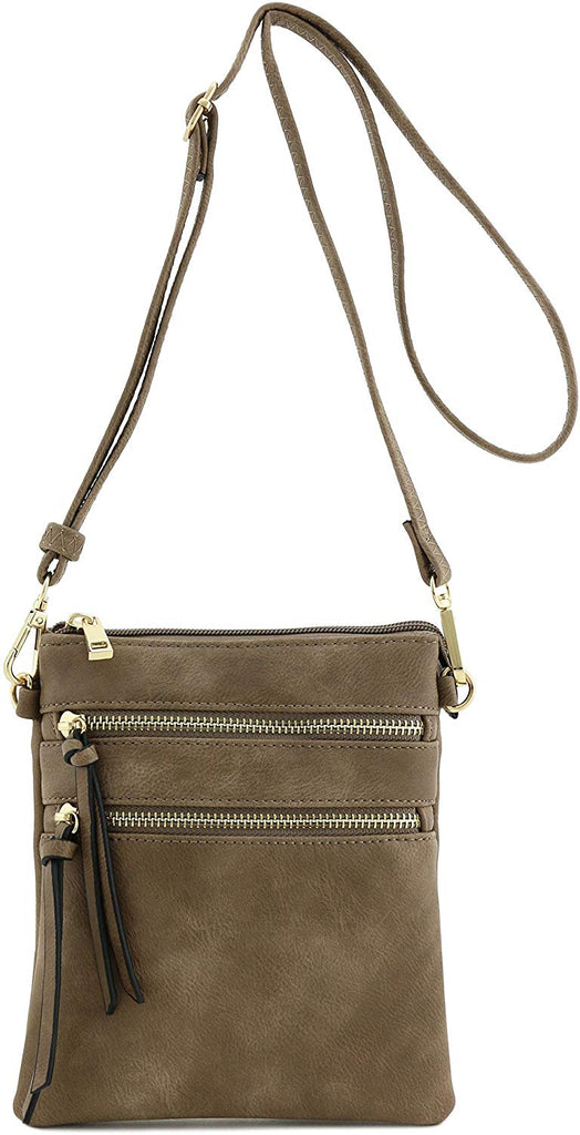 Faux Leather & Gold tone hardware Multi Pocket Crossbody Bag