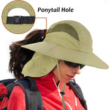 Boonie Hat w/Ponytail Hole UV Sun Protection Safari Cap w/Neck Flap