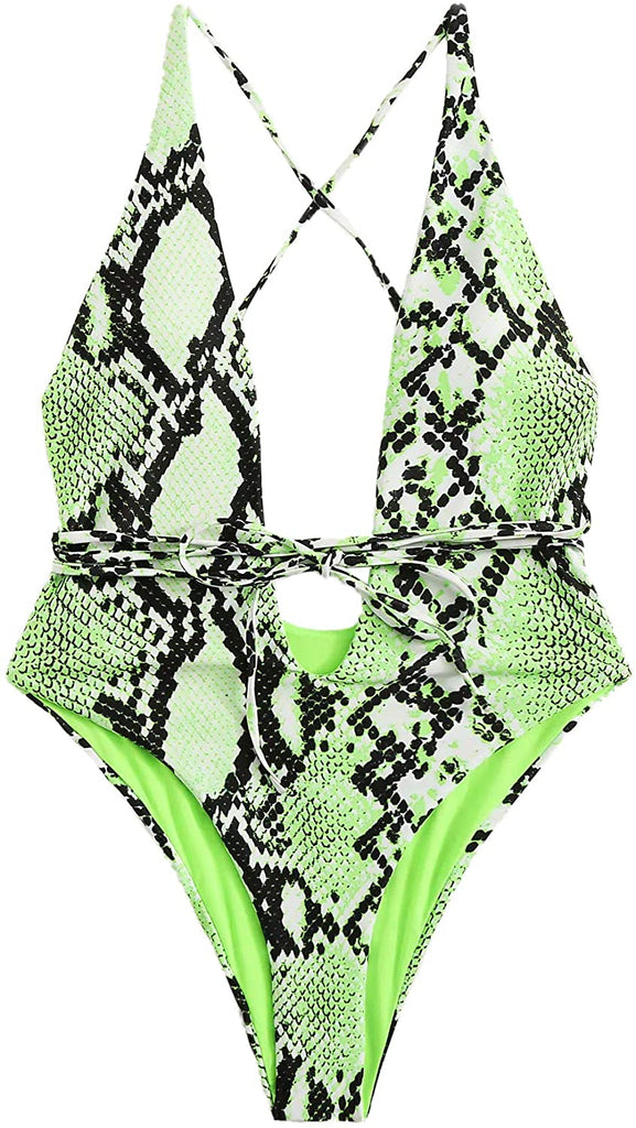 Women's Snakeskin Print Deep V Plunge Monokini One Piece Swimsuits Sexy Bathing Suits