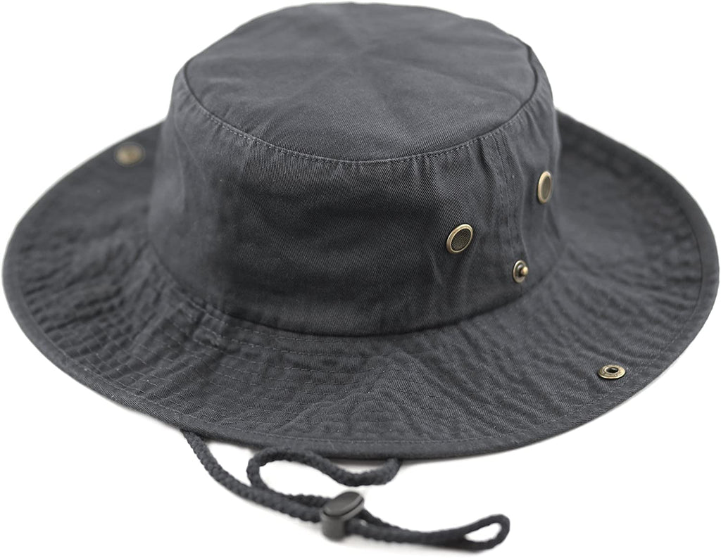 Hat Depot 100% Cotton Stone-Washed Safari Wide Brim Foldable Double-Sided Sun Boonie Bucket Hat