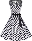 Women's 1950s Dress Vintage Rockabilly Swing Dress Lace Cocktail Prom Party Dress