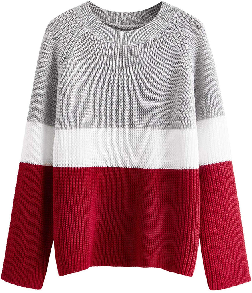 Women's Drop Shoulder Knitted Color Block Textured Jumper Casual Sweater
