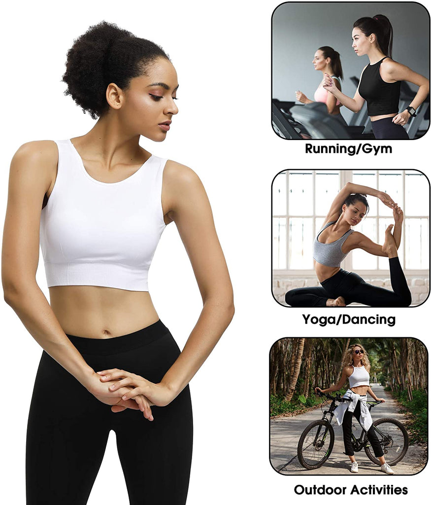 2/3 Pack High Neck Sports Bras for Women Medium Impact Longline Workout Yoga Tank Tops