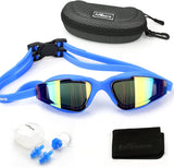 Swim Goggles, Swimming Goggles UV Protection Anti Fog No Leaking Large Frame Wide View Pool Goggles