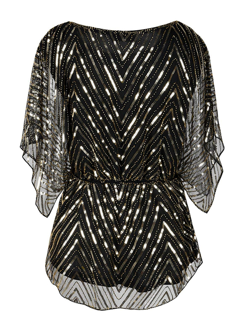 Women's Sequin Blouse Tops Sparkly Beaded Evening Formal Party Dressy Tops