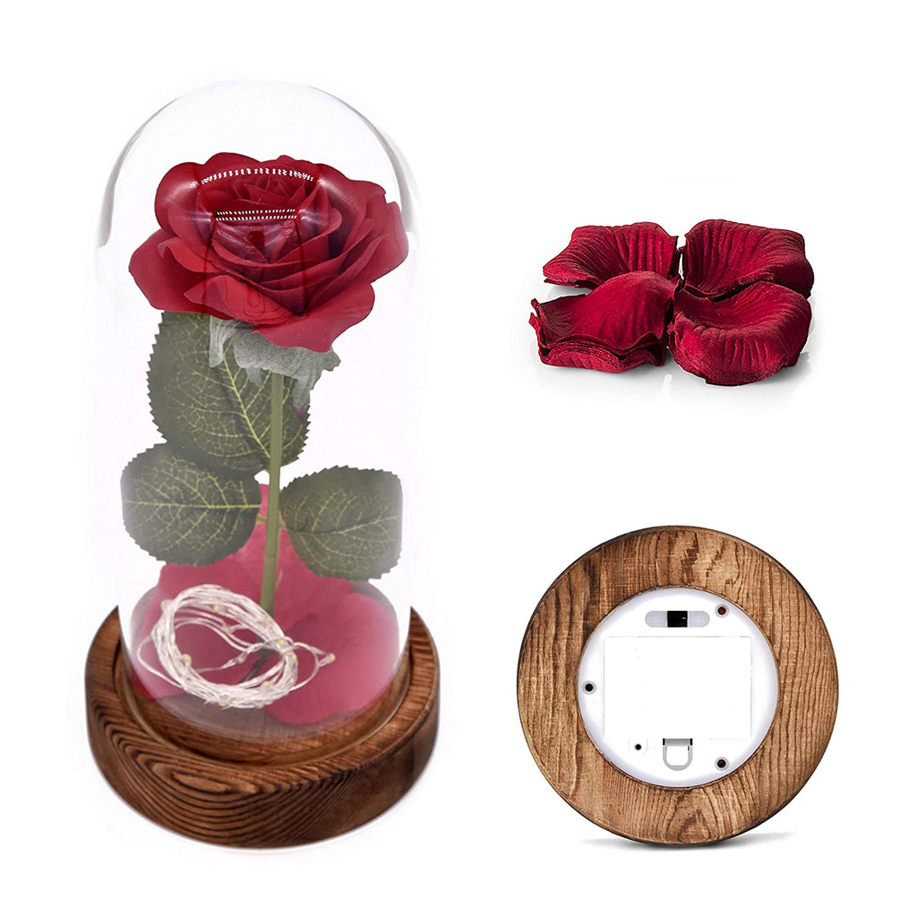 Garden Beauty and The Beast Rose Kit, Colorful Gold Foil Rose and Led Light in Glass Dome on Black Wooden Base for Home Decor