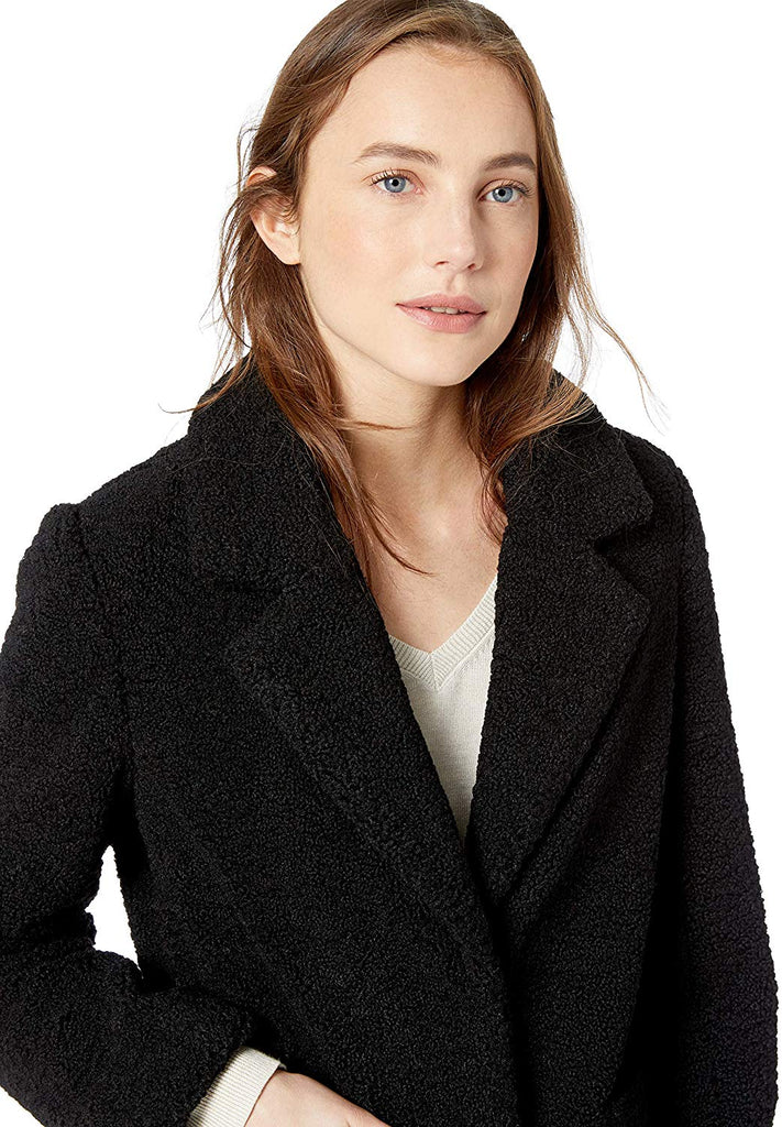 French Connection Women's 3/4 Faux Shearling Coat